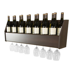 "Prepac - Prepac Floating Wine Rack in Espresso - Prepac - Wine Racks - ESOW02001 - Display your finest bottles of wine and liquor with this clever Floating Wine Rack. This wall mounted rack has a compact design to conserve space in your bar living room kitchen or dining area. With its sturdy construction you can display up to 18 standard 750ml bottles of wine or spirits. Keep a variety of stemmed glasses at hand by sliding them into the hidden channel underneath. This product ships ""Ready to Assemble"" with an instruction booklet for easy assembly. Installation is easy with Prepacs hanging rail system."