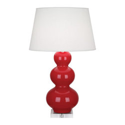 Robert Abbey - Robert Abbey Large Triple Gourd Table Lamp with Lucite Base RR43X - Ruby Red Glazed Ceramic