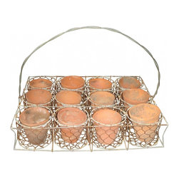 Wire Basket with Pots - Wonderful Vintage Wire Basket with Handle & 12 Terracotta Clay Pots. Charming set on a bench or table inside or outdoors.Approx. Measurements : 18 1/2 inches wide x 12 1/2 inches high x 13 inches deep.