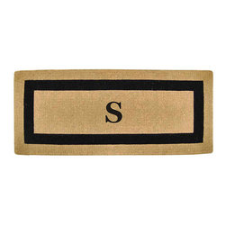 """Frontgate - Classic Border Monogrammed Mat - A, 22"""" X 36"""" - Stenciled in fade-resistant dyes. Constructed of 100% coir fibers. Protects your floors from mud, sand, water, and dirt. 1-1/2"""" thick. View complete care instructions. Framed in a sophisticated, bold border, our Classic Border Monogram Mat graces an entryway with your single initial. Constructed of 100% durable coir fibers, this handsome mat is stenciled in fade-resistant dyes for long-lasting luxury.  .  .  . .  . Please note: Personalized items are nonreturnable."""
