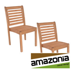 Amazonia - Amzonia Eucalyptus Wood Stackable Side Chairs (Set of 2) - Enjoy these great quality, stylish patio side chairs made of eucalyptus wood. Decorate your patio with elegance year-round with this wonderful seating set from the Amazonia Casual Design collection.