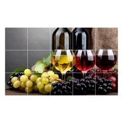 Picture-Tiles, LLC - Wine Grapes Photo Kitchen Bathroom Tile Mural  12.75 x 21.25 - * Wine Grapes Photo Kitchen Bathroom Tile Mural 1549