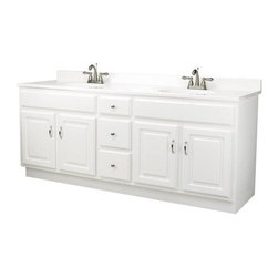 DHI-Corp - Concord White Gloss Vanity Cabinet with 4 Doors and 3 Drawers - The Design House 541086 Concord White Gloss Vanity Cabinet features a durable white gloss finish and satin nickel hardware. Clean lines and concealed hinges. The 4-door, 3-drawer construction gives you plenty of storage to keep your countertop free of clutter. Easily add an additional shelf inside this cabinet for even more storage. Measuring 72-inches by 21-inches by 30-inches, this vanity fits in larger bathrooms and provides ample storage and counter space to store toiletries for the entire family. Modern construction meshes with subtle vintage details for an elegant addition to your bathroom. This product is perfect for remodeling your bathroom and matches granite countertops and colored walls. Vanity top is not included with this product. The Design House 541086 Concord White Gloss Vanity Cabinet has a 1-year limited warranty that protects against defects in materials and workmanship. Design House offers products in multiple home decor categories including lighting, ceiling fans, hardware and plumbing products. With years of hands-on experience, Design House understands every aspect of the home decor industry, and devotes itself to providing quality products across the home decor spectrum. Providing value to their customers, Design House uses industry leading merchandising solutions and innovative programs. Design House is committed to providing high quality products for your home improvement projects.