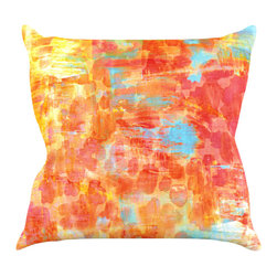 "Kess InHouse - Ebi Emporium ""Pastel Jungle"" Orange Red Throw Pillow (16"" x 16"") - Rest among the art you love. Transform your hang out room into a hip gallery, that's also comfortable. With this pillow you can create an environment that reflects your unique style. It's amazing what a throw pillow can do to complete a room. (Kess InHouse is not responsible for pillow fighting that may occur as the result of creative stimulation)."