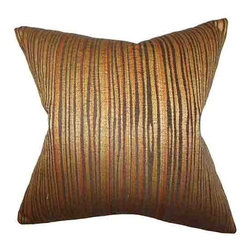 The Pillow Collection - Litzy Gold 18 x 18 Stripes Throw Pillow - - Pillows have hidden zippers for easy removal and cleaning  - Reversible pillow with same fabric on both sides  - Comes standard with a 5/95 feather blend pillow insert  - All four sides have a clean knife-edge finish  - Pillow insert is 19 x 19 to ensure a tight and generous fit  - Cover and insert made in the USA  - Spot clean and Dry cleaning recommended  - Fill Material: 5/95 down feather blend The Pillow Collection - P18-MVT-1218