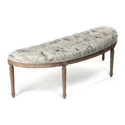 Kathy Kuo Home - French Country Louis XVI Curved Script Linen Vanity Hallway Bench - Take a seat, throw clothes or place magazines on this beautifully crafted, curved banquette in the Louis XVI style. Natural French script fabric tufted and gathered adds luxury to a bedroom or quiet elegance to a living room. The rustic, weathered frame with exquisite hand-carved detail keeps the look decorative and decidedly European.