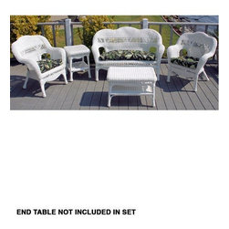 Home Decorators Collection - Sahara Patio Set - Transform your porch or deck into a stylish retreat with the casual yet elegant design of the Sahara Patio Set. Featuring finely woven details and all-weather durability, this patio furniture set is perfect for a variety of outdoor decors. Make it yours and buy now. Set includes love seat, 2 chairs and coffee table. Hand-woven of UV-resistant resin wicker with rattan frames. Virtually maintenance free; cleans easily with a mild detergent. Ideal for outdoor and indoor use.