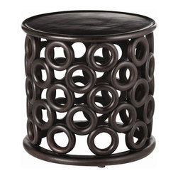 "Arteriors - Arteriors Kamal Hand-Carved Side Table - Circles of hand crafted wood create the base of this round wooden side table in a dark walnut finish. Features: Kamal Collection Side TableHandcarved Dark walnut finish Some Assembly Required. Dimensions: H 23"" x 24"" Dia"