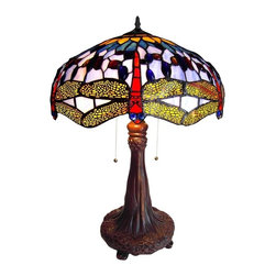 Dragonfly Table Lamp - Dragonfly Table Lamp. Handcrafted using the same techniques that were developed by Louis Comfort Tiffany in the early 1900s, this beautiful Tiffany-style piece contains over 500 hand-cut pieces of copper-foiled glass and 105 cabochons. Tiffany style Dragonfly design 2 light Table lamp in Dark Antique Bronze finish will add color and style to any room.