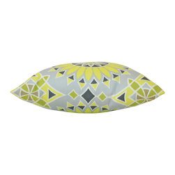 The Pillow Studio - Yellow and Grey Outdoor Soleil LA Pillow Cover with Schumacher Fabric - I love the bold color and design on this pillow -  I think it is a great addition inside or out!