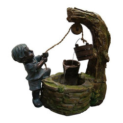 Alpine Fountains - Polyresin Boy Fetching Water - Made from Cement, Sand, Polyresin and stone powder. 1 Year Limited Warranty. Assembly Required. Overall Dimensions: 24 in. L x 12 in. W x 23 in. H (16.72 lbs)This fountain is a mix of polyresin and cement. The base has a natural stone and aged wood look.  The multiple water flows between the two buckets creates a relaxing and meditative atmosphere. They can be placed inside or out.