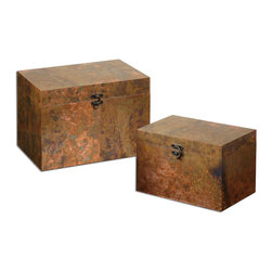 Uttermost - Ambrosia Copper Boxes Set of 2 - Oxidized copper sheeting. The oxidation on each piece will vary due to their handcrafted nature. Lids are hinged. Sizes: Sm-12x8x8, Lg-14x10x10