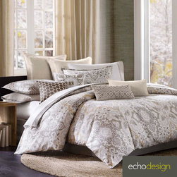 Echo - Echo Odyssey Cotton Paisley 3-piece Comforter Set with Euro Sham Sold Separate - Dress your bed with the calm and casual Echo Odyssey comforter set. Made of 100-percent cotton,this set features a charming paisley print with brown and ivory tones throughout. Euro sham is sold separately.