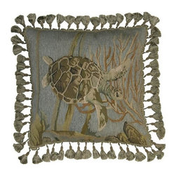 """EuroLux Home - New Aubusson Throw Pillow 20""""x20"""" Turtle - Product Details"""
