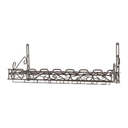 Concept Housewares - Wine & Glass Wall Rack - Metal Matte Brown - Dimensions: 31W x 12D x 10H Inches.