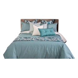 SIS Covers - SIS Covers Breezy Stripe Capri Duvet Set - 6 Piece Queen Duvet Set - 5 Piece Twin Duvet Set Duvet 67x88, 1 Std Sham 26x20, 1 16x16 dec pillow, 1 26x14 dec pillow. 6 Piece Full Duvet Set Duvet 86x88, 2 Std Shams 26x20, 1 16x16 dec pillow, 1 26x14 dec pillow. 6 Piece Queen Duvet Set Duvet 94x98, 2 Qn Shams 30x20, 1 16x16 dec pillow, 1 26x14 dec pillow. 6 Piece California King Duvet Set Duvet 104x100, 2 King Shams 36x20, 1 16x16 dec pillow, 1 26x14 dec pillow6 Piece King Duvet Set Duvet 104x98, 2 Kg Shams 36x20, 1 16x16 dec pillow, 1 26x14 dec pillow. Fabric Content 1 100 Cotton. Guarantee Workmanship and materials for the life of the product. SIScovers cannot be responsible for normal fabric wear, sun damage, or damage caused by misuse. Care instructions Machine Wash. Features Reversible Duvet and Shams.