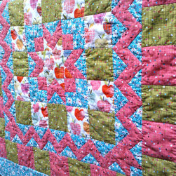 Patchwork Alexander Henry 'Farmdale' Baby Quilt by Callahan Rags - Hello, fun colors! This would be a cozy floor covering for a playroom.