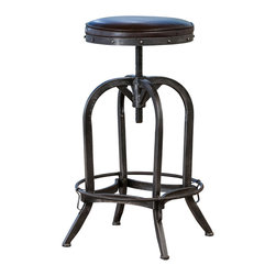 Great Deal Furniture - Gordon Swivel Iron Bar Stool, Brown Leather - The Gordon swivel bar stool is a unique piece with all the elements to fit any urban style decor. It's built from iron material and the tubular base ensures sturdy construction. It features antique-stained legs, and the swivel seat is adjustable.