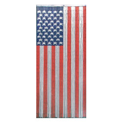 "Bamboo54 - Bamboo American Flag Scene - Bamboo54 American flag scene is made from authentic bamboo and hand strung. One curtain contains 90 strands across and is the perfect door hanging accessory. Hand painted on both sides. Measures approximately 36"" x 80"""
