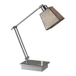 Ren-Wil - Ren-Wil LPT423 Bellum Desk Lamp - The Bellum task light features a silver leaf body with a classic mica shade.