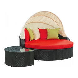 Modway Imports - Modway EEI-731-SET Perectiona Canopy Outdoor Patio Daybed In Espresso Red - Modway EEI-731-SET Perectiona Canopy Outdoor Patio Daybed In Espresso Red