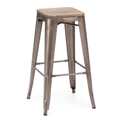 Zuo Modern - Marius Bar Chair Rustic Wood (Set of 2) - Seen in popular bistros in France, the Marius bar and counter chair will transform your space into a cafe in Paris. The stool is electrical plated.