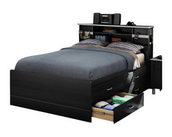 South Shore - South Shore Cosmos Contemporary Full Bed Frame Only in Black Onyx - South Shore - Beds - 3127209