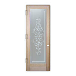 "Sans Soucie Art Glass (door frame material T.M. Cobb) - Interior Glass Door Sans Soucie Art Glass Bordeaux Private - Sans Soucie Art Glass Interior Door with Sandblast Etched Glass Design. GET THE PRIVACY YOU NEED WITHOUT BLOCKING LIGHT, thru beautiful works of etched glass art by Sans Soucie!  THIS GLASS PROVIDES 100% OBSCURITY.  (Photo is View from OUTside the room.)  Door material will be unfinished, ready for paint or stain.  Satin Nickel Hinges. Available in other wood species, hinge finishes and sizes!  As book door or prehung, or even glass only!  1/8"" thick Tempered Safety Glass.  Cleaning is the same as regular clear glass. Use glass cleaner and a soft cloth."