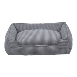 Jax & Bones - Jax & Bones Corduroy Lounge Bed Dove Grey Small - With removable inserts and zippers, these corduroy lounge beds are easy to maintain and care for. They are amazingly comfortable and cozy, making them ideal for your pet to rest in. these beds are perfect for those pets which need some warmth and reassurance in their lives. The beautiful colors offered in these beds will not fade after washing and are extremely durable.   100% Machine Washable and Certified Eco-Friendly!