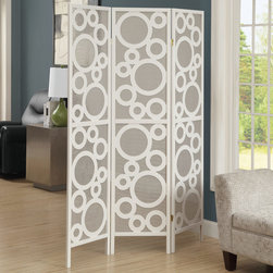 Monarch - White Frame 3 Panel Bubble Design Folding Screen - A contemporary dividing screen like this is a unique addition to any room in the home. Made with warm white solid wood, this screen features a contemporary circle pattern giving a airy and bubbly accent to your space.