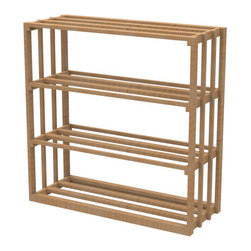 "EcoWineracks 36"" Wide Lower Rectangular Bin Rack, Natural Color, Clear Acrylic - EcoWineracks are the worlds only traditional style wine racks made from non-forested and sustainable bamboo. Bamboo is superior to wood in strength and durability, is non-warping and has consistent grain."