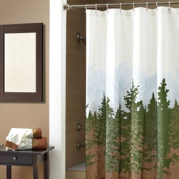 """Croscill - Croscill Wilderness 72-Inch x 72-Inch Shower Curtain - Evocative of majestic forests and featuring a view of the mountains, """"Wilderness"""" is a printed shower curtain that will bring the outdoors right to your shower."""