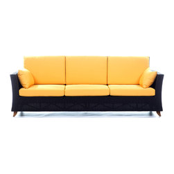 All Things Cedar - RATTAN 4 Seater All Weather Wicker 8 Ft. SOFA w/ Yellow cushion - Our 8 Foot Rattan Deep Seat Sofa is a great accomodation for weekend get togethers and offers plenty of room for a Sunday afternoon nap. Comes with 6 Yellow Cushions --- 3 for the Seat and 3 for the Back --- and 2 Yellow Side Pillows. : DIMENSIONS : SOFA :  92w x 33d x 34h : CUSHIONS : BACK : 18w x 27d x 5 1/2h --- SEAT : 27w x 27d x 5 1/2h