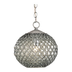 Kathy Kuo Home - Teardrop Hollywood Regency Modern Glass Orb Pendant Lamp - This must be the belle of the glass ball pendant light fixtures!  With a strong mid century influence, this piece is truly a work of art. The glass is blown into the nickel plated wire framework, creating a glass teardrop effect that is bent into an open bottomed pendant.