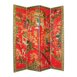 Wayborn - Wayborn Hand Painted Asian Floor Room Divider - Wayborn - Room Dividers - 1269 - Wayborn hand painted screens start with a cedar plywood frame covered in a cheesecloth material. Then layer after layer of plaster is applied; each layer must dry before another layer can be applied. After all the plaster has been applied several coats of lacquer is put over the entire surface. At that time the artist begins to sketch out the painting directly on the panels of the screen and begins painting the design with water based paint.  Each one of these screens has its own characteristics and is truly a work of art.