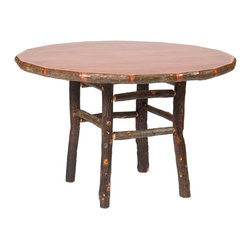 Fireside Lodge Furniture - Hickory Round Log Dining Table (42 in. Dia. - Finish: 42 in. Dia.- Espresso in StandardHickory Collection. All dining tables are 30 in. tall. All Hickory Logs are bark on and kiln dried to a specific moisture content. Clear coat catalyzed lacquer finish for extra durability. 2-Year limited warranty. 42 in. Dia. x 30 in. H (175 lbs.). 48 in. Dia. x 30 in. H (185 lbs.). 54 in. Dia. x 30 in. H (200 lbs.). Assembly Instructions