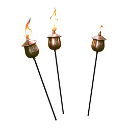 H Potter - Mini Copper Torches - Set of Three - Here's a real torch song trilogy for your patio. Curvy copper pots hold fuel and wicks ready to light up the night, and are supported by black iron stakes sure to raise the heat. Get a few sets to make a coppery chorus.