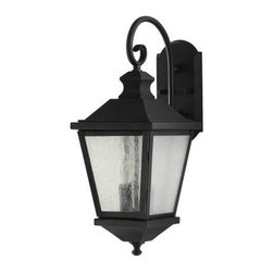 Home Solutions Woodside Hills OL5701BK 2-Light Wall Lantern - 8 in. - Black - Not only does the Home Solutions Woodside Hills OL5701BK 2-Light Wall Lantern - 8 in. – Black add a dash of upscale chic to your home, it also offers years of practical function. The simple, yet substantial rustic design is timeless in appeal and will complement homes of almost every style. The seeded glass emanates a gentle, welcoming light, while playing up the beauty of the sleek black finish. It uses two candelabra 60-watt bulbs (not included) and is UL-listed for wet locations.Additional Information:Extension: 11.25 inchesBackplate dimensions: 4.5W x 9H inchesCenter of outlet box up: 6.5 inchesCenter of outlet box down: 13.25 inchesAbout Murray Feiss LightingThree generations have built Murray Feiss as a renowned name in lighting, and it now stands as a leader with a reputation for impeccable craftsmanship, innovative design, and honest value. Murray Feiss prides itself as the foremost designer and manufacturer of interior and exterior lighting and home décor in the lighting industry. Over 3,800 skilled artists and technicians bring Murray Feiss designs to life, meticulously finishing and quality testing each exclusive product. Murray Feiss Lighting has expanded its extensive, copyrighted line of products to include grand chandeliers, casual fixtures, vanity bath lights with coordinated bath hardware, outdoor lighting, lamps, torchieres, wall brackets, mirrors and decorative accessories. Whether outdoor or in, lighting from Murray Feiss means high quality and innovation.About Murray FeissMurray Feiss prides itself as the foremost designer and manufacturer of interior and exterior lighting and home décor in the industry. Founded three generations ago, Murray Feiss features an award-winning in-house design team that includes industrial, graphic, and interior designers, all working in conjunction with engineers, draftsmen, color forecasters, and quality control experts to bring you only the finest in home lighting solutions. At the Murray Feiss factories, over 3,800 skilled artisans go to work bringing the creations to life, meticulously hand-finishing and quality-testing each fixture to ensure you receive a top quality product. With pride in their past and a commitment to the future, Murray Feiss offers more than just expertise: they offer a promise of great value and affordability. Bring home beautiful lighting you can believe in with a Murray Feiss fixture.