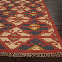 Jaipur Rugs - Flat-Weave Durable Jute Red/Ivory Area Rug, Red/Ivory, 8 x 10, Zafer - The Bedouin collection is hand woven in wool and jute. It has a rustic, authentic look inspired by traditional kilimm patterns in rich rusts, blues and golds. The collection has a vintage, eclectic look that can easily be mixed and matched with its coordinating pillow and pouf collection.
