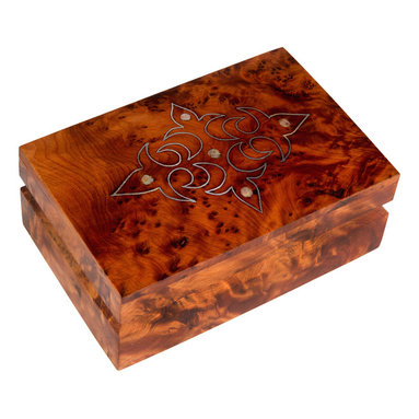 "Moroccan Buzz - Mother-of-Pearl Inlaid Box, Moroccan Thuya Wood - ""Adorn your vanity with a charming artisan-crafted Moroccan Thuya wood box. Lustrous inlaid Mother-of-Pearl accents the rich burl wood grain. Thuya wood's aromatic cedar-like fragrance will last for years . . . a lovely way to store jewelry and other treasures. The exotic Thuya tree, native to the Middle Atlas Mountains, has been used for centuries by Moroccan woodcraft artisans. Thuya wood burls, the knobby outgrowths of the trunk or branches, produce beautiful and interesting wood grains which make every piece truly unique. The wonderful cedar-like aroma of Thuya wood lasts for years. Our Thuya wood pieces were handcrafted by artisans in the coastal town of Essaouira, close to the source of the Thuya wood, and renowned for its talented woodworkers."""