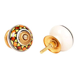 MarktSq - Ceramic Knob In Earth Colors - This ceramic knob in bright earth colors comes with golden hardware and an adjustable back plate.