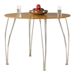 Ameriwood - DHP Bentwood Round Dining Table in Natural - Ameriwood - Dining Tables - 3517096KIT - DHP's Bentwood Round Dining Table brings cool class and contemporary style to any kitchen dinette or dining room decor and is a perfect fit for smaller spaces. Its chrome curved legs are modern and sleek and the clean natural honey/birch color of the table adds a touch of light airiness to the room. The table can seat two or four people easily with the Shell Bentwood Chairs sold separately.