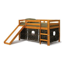 Chelsea Home - 46 in. Twin Tent Bed with Slide - NOTE: ivgStores DOES NOT offer assembly on loft beds or bunk beds. Mattress not included. Rustic style. Hand finished stain with three step process to compliment natural wood grain. Rails connect to bed ends by metal to metal machine bolt and t-nut for secure hold. Tested by Federal Safety Standards which require 400 pounds to be placed in the top bunk on top of mattress foundation. Meet and exceed all of the following rules: ASTM F-1427-07, CFR 1213, CFR1513 and lead testing. Weight capacity: 250 pounds. Constructed for strength and durability. Warranty: One year. Made from solid pine wood. Honey finish. Made in Brazil. Assembly required. 81 in. L x 41 in. W x 46 in. H (99.22 lbs.). Bunk Bed Warning. Please read before purchase.Warning: Falling hazard, bunk beds should be used by children 6 years of age and older!