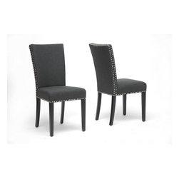 Wholesale Interiors - Harrowgate Dark Gray Linen Modern Dining Chair - Set of 2