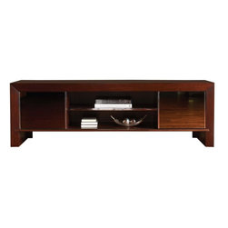Lexington - Sligh Studio Designs Meridian Media Console - Two sliding smoked mirror doors framed in polished stainless steel are flanked by chamfered, mitered corners on both ends of the console. Three adjustable shelves with stainless steel front rims provide ample storage for media components.