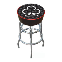 Trademark Global - Bar Stool w Padded Seat & Club Logo - Backless barstool for the card player. This one has the clubs shape outlined in white on the commercial grade vinyl seat with lots of padding for comfort. Chrome plated base has double rings and adjustable levelers. There's a stool in each of the card suits. Adjustable levelers. Long lasting Club logo. Great for gifts and recreation decor. 7.50 in. High padded seat. 30 in. High bar stool great for bar pub table and bars. Commercial grade vinyl seat. Chrome plated double rung base. 14.75 in. W x 14.75 in. D x 30 in. H (17 lbs.)This Four Aces Bar Stool will be the highlight of your bar and game room.