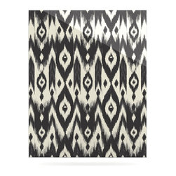 """Kess InHouse - Amanda Lane """"Black Cream Tribal Ikat"""" Tan Dark Metal Luxe Panel (16"""" x 20"""") - Our luxe KESS InHouse art panels are the perfect addition to your super fab living room, dining room, bedroom or bathroom. Heck, we have customers that have them in their sunrooms. These items are the art equivalent to flat screens. They offer a bright splash of color in a sleek and elegant way. They are available in square and rectangle sizes. Comes with a shadow mount for an even sleeker finish. By infusing the dyes of the artwork directly onto specially coated metal panels, the artwork is extremely durable and will showcase the exceptional detail. Use them together to make large art installations or showcase them individually. Our KESS InHouse Art Panels will jump off your walls. We can't wait to see what our interior design savvy clients will come up with next."""