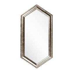 Hexaqon Mirror - Upright but not dependent on standard corners for its form, the Hexagon Mirror is superb for maximizing both the utility of your elegant selected wall mirror and the look of space on your wall. Complement the more square turns of architecture by lightening the angles with this mirror, which has a slightly antiqued silver frame for a hint of aged metallic glamor.