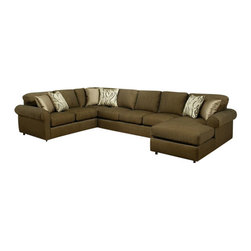 "Benchley - 3-Piece Marino Quartz Fabric Upholstered Sectional Sofa - 3-Piece Marino quartz fabric upholstered sectional sofa with rounded arms and chaise lounge. Sectional measures 99"" x 153"" x (chaise 66"" long) 39"" x 38"" h. This set comes as shown or can be ordered in additional fabrics upon request at an additional cost."