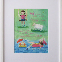 Modern Nursery Rhyme: Mary Had A Little Lamb (Original) by Abby Kuperstock - A modern and humorous version of the classic nursery rhyme: Mary Had A Little Lamb with hand lettering.